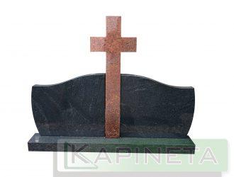Paminklas juodas su Vanga/KymenRed kryžiumi paminklo sparnai 0,54×0,42 m, kryžius 0,3×0,8 m, pjedestalas 0,15×1,06 m