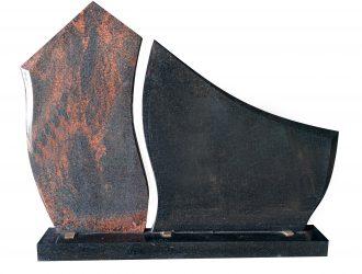 Juodo kareliško Gabro Diabaz (0,77×0,8 m) ir suomiškos Aurora (0,89×48 m) granito paminklas su pjedestalu (1,2 m)