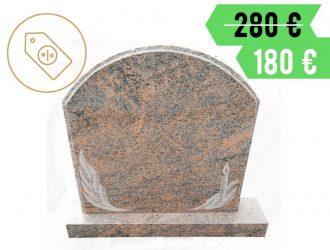 Suomiško Aurora granito paminklas su raižiniu ir pjedestalu